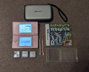 Pink Nintendo DS Lite Bundle ( Stylus x2, case, 4 games, charger)