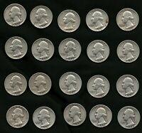 Lot of 20 Washington Silver Quarters Coins Years: 1952, 1953, 1954, and 1956