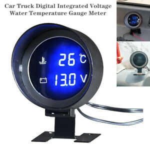 12V/24V Car Truck Digital Voltage Water Temperature Gauge w/ Sensor Base Bracket
