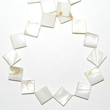 MP1911f Natural White Flat Square Diamond 14mm Mother of Pearl Shell Beads 15""