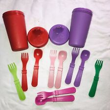 Re-Play Made in USA Toddler Feeding No Spill Sippy Cups & Utensils (Used)