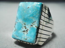 HUGE HEAVY MEN'S SQUARED NAVAJO TURQUOISE STERLING SILVER RING