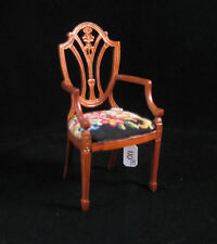 Bespaq Miniature Dollhouse Arm Chair with antique petit point - needlepoint.