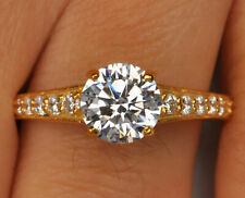 2.25CT Diamond Round Shape D/VVS1 14K Yellow Gold Solitaire Engagement Ring