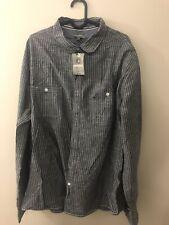 Peacock Men Light Grey Long Sleeve Shirt Size: XXL
