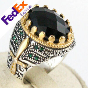 Natural Faceted Onyx 925 Sterling Silver Turkish Handmade Men's Ring All Sizes