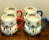 New Mid-Century 'Design' Owl Mugs. Set of 4. Discontinued Cracker Barrel. H-1