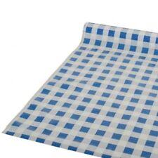Biertisch Tischdecke, Folie, Rolle mit 50 Meter, blaues Karo, abwischbar