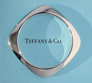 Tiffany & Co Sterling Silver Square Solid Heavy Cushion Bangle Bracelet Medium