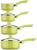 Ecocook Lime Green Cookware Pan Saucepan Milkpan Set Aluminium Kitchen Pans Pots