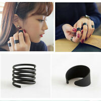 Women 3PCS Ring Set Black Stack Plain Above Knuckle Ring Band Midi Rings