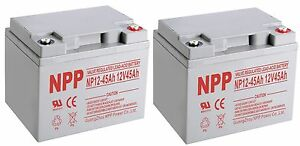 NPP 12V 45Ah 12Volt SLA Deep Cycle Rechargeable Battery MK45-12 PS-1245 / (2pcs)