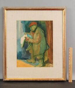 Artist Signed Social-Realist Expressionist Watercolor Painting, Man w/ Newspaper