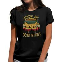 Cat Show Me Your Kitties Vintage Retro Funny Women's T-Shirt Black Summer Tee