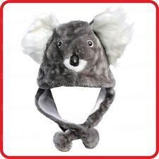 KOALA BEAR SILVER GREY ANIMAL CARTOON PLUSH FLUFFY HOODED HAT CAP BEANIE EARMUFF