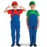 SUPER PLUMBERS MATE COSTUME BOYS 80'S GAME CHARACTER FANCY DRESS GREEN OR RED