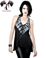 Urban X Ladies Popular Tie Dye Style Black Uneven Hem Large/AU12 Halter Tank Top