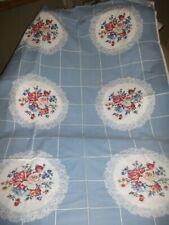 Vintage 50's Blue Tablecloth Roses Cotton 64 x 48