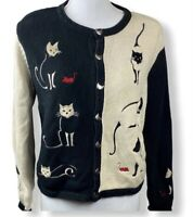 Vintage Christopher Banks Sweater Womens Medium Black & White Cat Embroidered