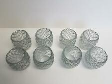 Glass Votive Candle Holders Diamond Design - Set of 8 - Wedding cups tea light