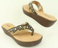 Durango Western Brown Tan Leather Rhinestones Wedge Thong Sandals Women's 7 M