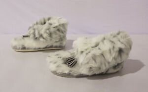 PB Teen Women's Leopard Print Ankle Tassel Faux-Fur Booties CL8 Gray Size US:XL