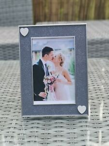 Grey / Blue Photo Picture Frame White Love Heart Wedding Anniversary Gift