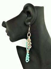 Long Turquoise Dangle Drop Earrings Curb Chain in Gold Tone 12 cms