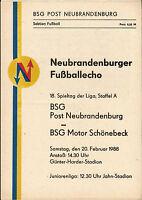 DDR-Liga 87/88 BSG Post Neubrandenburg - Motor Schönebeck, 20.02.1988