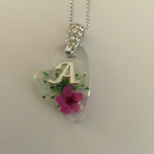 JEWELLERY  PENDANT WITH REAL FLOWERS AND YOUR NAME INITIAL A (HEART SHAPE)