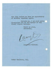 Laurence Olivier Letter Signed 1953 to AA Winner Peter Handford / Autographed