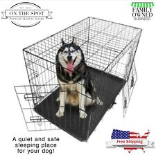 """Dog Kennel Metal Foldable Pet Cage 24""""/42""""/48""""  Large Wire Fence Playpen 2-Door"""