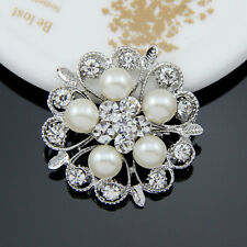 Silver Tone Pearl Flower Broach Diamante Rhinestone Crystal Wedding Brooch Pin