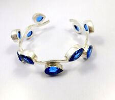 Tanzanite Quartz .925 Silver Plated Handmade Bangle Cuff Jewelry Jc10622
