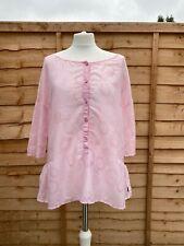 Oska Pink Blouse Size 1 Short Sleeve Shirt Size 10 Casual Top Lightweight Tunic