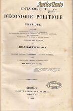 COURS COMPLET D ECONOMIE POLITIQUE PRATIQUE di Jean Baptiste Say 1840 II edizion