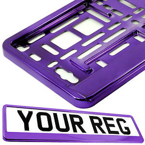 PURPLE CHROME Car Number Plate Surround Holder FOR ANY CAR, TRUCK VAN TRAILER