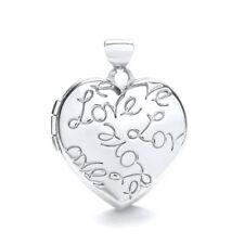 9ct White Gold Heart Shaped 2 Photo LOVE Engraved Locket 20 x 20mm Hallmarked