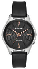 Citizen Modena Women's Eco-Drive EM0591-01E Black Leather Strap 36mm Watch