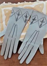 vêtement ancien - Ancienne paire de gants en peau gris - féminin