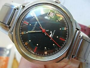 Red Whale Dial All S/S Vintage 1969 Men's Bulova Automatic Sea King Watch 4 REP.