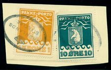Greenland #Q4b Q8a 10ore+1kr tied on piece by oval Styrelse cancel, Vf