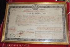 CONGE DE LIBERATION 19° RGT INFANTERIE DE LIGNE 1840