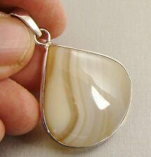 Semi Precious BOTSWANA AGATE 925 Sterling Silver Pendant  - 4s