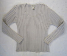 BANANA REPUBLIC Scoop Neck Knitted Cotton Sweater ~ Light Gray ~ Size M ~ EUC