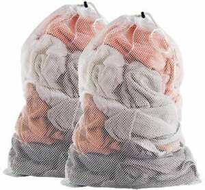 """Laundry Bags Mesh w Draw String White Polyester 24""""x36"""" (2Pack)"""