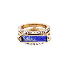 Bague Doré Art Deco Lapis Lazuli Bar Bleu 3 en 1 Gris Retro Style T53 Z3