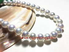 "Australia top 17""12-13mm REAL natural south sea round WHITE pearl necklace 14K"