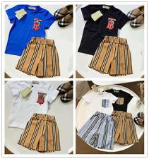 1 Set New Kids Girl Boy Black & White Brown Strip Summer Shirt Top Tee & Pant