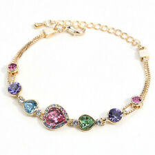 Multi color Crystal Yellow Gold Plated Adjustable Bracelet